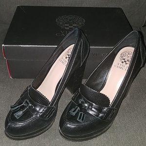 Vince Camuto black leather VC-Callin tasseled pump